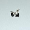 Sörl -Fekete turmalin ezüst mini szett, Ékszer, óra, Fülbevaló, Ékszerszett, Medál, Ékszerkészítés, Egyszerű sterling ezüst bedugós  fülbevalót készítettem fekete turmalin azaz sörl  felhasználásával..., Meska