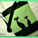 SZIA CICUS!  ZÖLDBEN, Táska, Tarisznya, Válltáska, oldaltáska, Varrás,   Fekete és  zöld színű textilbőr kombinációjával készítettem ezt a kényelmes és praktikus táskát. ..., Meska