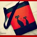 SZIA CICUS! PIROSBAN, Táska, Ruha, divat, cipő, Tarisznya, Válltáska, oldaltáska, Varrás, Fekete és piros színű textilbőr kombinációjával készítettem ezt a kényelmes és praktikus táskát. Be..., Meska