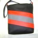 CSINOS CSÍKOS  FEKETE-PIROS-SZÜRKE, Ruha, divat, cipő, Táska, Baba-mama-gyerek, Válltáska, oldaltáska, Varrás, Különböző színű textilbőrök kombinációjával készítettem ezt az  kényelmes és praktikus táskát. Belü..., Meska