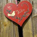 Tulipános szív tábla, Otthon, lakberendezés, Festett fatábla, vízálló rétegelt lemezből  méretei:21cmx19cm Kérheted bármelyik színben. Köszönöm, ..., Meska
