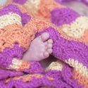 Horgolt babatakaró vidám színekben, Baba-mama-gyerek, Otthon, lakberendezés, Gyerekszoba, Falvédő, takaró, Horgolás, Élénk színű, csíkos takaró a kecskerágó bokor termésének megkapó színeiben. Újszülött, kisbaba mére..., Meska