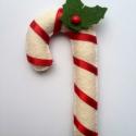 cukorpálca negrom kérésére, Dekoráció, Ünnepi dekoráció, Karácsonyi, adventi apróságok, Varrás, 14 cm magas cukorpálca. Fehér gyapjúfilcből készült. Vatelinnel töltöttem., Meska