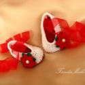 Különleges karácsonyi horgolt babacipőcske, Baba-mama-gyerek, Ruha, divat, cipő, Cipő, papucs, Baba-mama kellék, Horgolás, Csillogós, horgolt babacipő. Kiváló ajándék babáknak, vagy akár fényképezéshez is. A cipőcske talph..., Meska