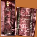 Gravírozott palack, Férfiaknak, Konyhafelszerelés, Kancsó , Üvegművészet, 750 ml-es kézzel gravírozott üveg dogóval.   Megbeszélés után más mintával/ felirattal is kérhető. , Meska
