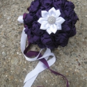 """""""Aubergine roses"""", Esküvő, Esküvői csokor, Virágkötés, Varrás, A padlizsán mély lila színe és a hófehér tisztasága áll tökéletes összhangban ebben a menyasszonyi ..., Meska"""