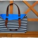 """Blue Zebra - Lunch Bag vászontáska, Táska, Válltáska, oldaltáska, Szatyor, Varrás, A """"Lunch Bag"""" méretű táska kifejezetten praktikus: belefér a napi menü és nem kell a nyúzott nejlon..., Meska"""