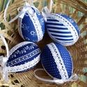 Húsvét kékben, csipkében, Dekoráció, Ünnepi dekoráció, Húsvéti apróságok, Dísz, Foltberakás, Pamutvászonnal bevont hungarocell tojások,csipke és szalag díszítéssel. Méret 7cm. Az ár 4b-ra vona..., Meska