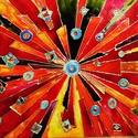 Kaleidoszkóp, Képzőművészet, Otthon, lakberendezés, Festmény, Falikép, Festészet, 40X60 cm, síküvegre üvegfestés technikával készült üvegfestmény, Meska