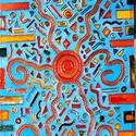 Ausztrál, Képzőművészet, Napi festmény, kép, Festett tárgyak,  4X60 cm, síküvegre üvegfestés technikával készült üvegfestmény, Meska