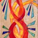 Lángfa, Képzőművészet, Napi festmény, kép, Festészet, 35X70 cm,  síküvegre üvegfestés technikával készült üvegfestmény, Meska