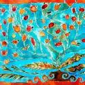 Török tányér, Képzőművészet, Otthon, lakberendezés, Festmény, Falikép, Festészet, 40X60 cm, síküvegre üvegfestés technikával készült üvegfestmény, Meska