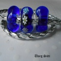 Kék éjjel virágos üvegékszer 2 az 1-ben kétsoros karkötő, Ékszer, óra, Karkötő, Nyaklánc, Ékszerszett, Üvegművészet, Ékszerkészítés, Kék katedrál  üveg és millefiori virágok felhasználásával készült a karkötő olvasztásos technikával..., Meska