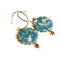 Kék erdő - textilékszer - fülbevaló , Ékszer, óra, Fülbevaló, A fülbevaló a következő anyagokból készült:   * türkizkék vintage selyem bronz levelekkel  * bronz ü..., Meska