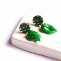 Zöld levél - bedugós fülbevaló lila virággal, Ékszer, óra, Fülbevaló, A fülbevaló a következő anyagokból készült:   * zöld textil pöttyökkel   * zöld műgyanta levél * sár..., Meska