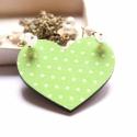 Menta Szív - design ékszer - nyaklánc - Woody kollekció, Ékszer, óra, Nyaklánc, A nyaklánc a következő anyagokból készült:  * mentazöld színű, fehér pöttyös szív alakú fa medál * f..., Meska