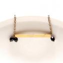 Csövek -  nyaklánc kocka alakú csövekkel, fekete, Ékszer, óra, A nyaklánc a következő anyagokból készült:  * kocka alakú sárgaréz cső  * fekete üveggyöngy * sárgar..., Meska