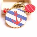 Tengerész - nyaklánc - design ékszer, Ékszer, óra, Nyaklánc, A nyaklánc a következő anyagokból készült:   * kék csíkos textil piros horgonnyal, piros pöttyös tex..., Meska
