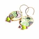 Zöld csokor - textilékszer - fülbevaló, Ékszer, óra, Fülbevaló, A fülbevaló a következő anyagokból készült:   * lila és zöld színű virágos Liberty London textil * l..., Meska