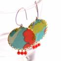 Foltos - textilékszer - fülbevaló - KIFUTÓ, Ékszer, óra, Fülbevaló, Eredeti ára: 4500 ft  A fülbevaló a következő anyagokból készült:   * kék, zöld, koral színű textil ..., Meska