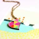 Geometrikus Szerelem - nyaklánc szívvel és geometrikus mintával - Woody kollekció, Ékszer, óra, Nyaklánc, A nyaklánc a következő anyagokból készült:  * szív alakú fa medál geometrikus mintával nyomtatva  * ..., Meska