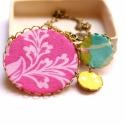 Nyár - textilékszer - nyaklánc - KIFUTÓ, Ékszer, óra, Nyaklánc, Eredeti ára: 5500 ft  A nyaklánc a következő anyagokból készült:  * sárgaréz filigrán alap * pink, t..., Meska