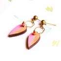 Pink levél - kicsi leveles fülbevaló - Woody kollekció, Ékszer, óra, Fülbevaló, A fülbevaló a következő anyagokból készült:   * kézzel festett rózsaszín pici levél formájú fülbeval..., Meska