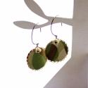 Op Art - design ékszer - fülbevaló, Ékszer, óra, Fülbevaló, A fülbevaló a következő anyagokból készült:   * khaki zöldes-tört fehéres textil * barnás-fehéres üv..., Meska