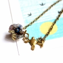 Icipicipipacs - design ékszer nyaklánc - kék, sárga, Ékszer, óra, Nyaklánc, A nyaklánc a következő anyagokból készült:   * sárgaréz leveles ágacska madárkával * kék-sárga mintá..., Meska