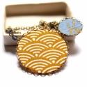 Japán hullámos nyaklánc - design ékszer - sárga, kék , Ékszer, óra, Nyaklánc, A nyaklánc a következő anyagokból készült:   * mustársárga textil japán hullámos mintával, kék texti..., Meska