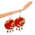 Leopárd - design ékszer - fülbevaló - KIFUTÓ, Ékszer, óra, Fülbevaló, Eredeti ára: 4500 ft  A fülbevaló a következő anyagokból készült:   *  piros-bronz színű leopárdos t..., Meska