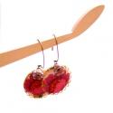 Lila virág - design ékszer - fülbevaló - KIFUTÓ, Ékszer, óra, Fülbevaló, Eredeti ára: 4500 ft  A fülbevaló a következő anyagokból készült:   * lilás-zöldes virágos textil * ..., Meska