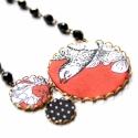 Őszi madár - textilékszer - nyaklánc, Ékszer, óra, Nyaklánc, A nyaklánc a következő anyagokból készült:  * sárgaréz filigrán alap * barna textil fekete-fehér mad..., Meska