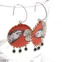 Barna madár  - textilékszer - fülbevaló, Ékszer, óra, Fülbevaló, A fülbevaló a következő anyagokból készült:   * barna textil fekete-fehér madárral   * fekete üveggy..., Meska