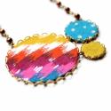 Vibráló ősz - textilékszer - nyaklánc, Ékszer, óra, Nyaklánc, A nyaklánc a következő anyagokból készült:  * sárgaréz filigrán alap * sárga, barna, pink és kék szí..., Meska