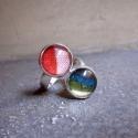 Vidám csíkok - textilékszer - gyűrű, Ékszer, óra, Gyűrű, A gyűrű a következő anyagokból készült:  * színes csíkos textilek  * nagyítós üveglencse * állítható..., Meska