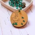 Arany ősz - design ékszer - kerek nyaklánc - Woody minikollekció, Ékszer, óra, Nyaklánc, Elegáns nyaklánc az ősz jegyében.   A nyaklánc a következő anyagokból készült:  * kerek fa medál ara..., Meska