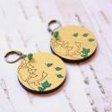Arany ősz - design ékszer -  fülbevaló, Ékszer, óra, Fülbevaló, A fülbevaló a következő anyagokból készült:  * kerek fa fülbevaló arany és zöld színekben falevelekk..., Meska