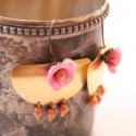 Romantikus törzsi nagy fülbevaló - rózsaszín és bronz, Ékszer, óra, Fülbevaló, A fülbevaló a következő anyagokból készült:   * rózsaszín selyem * nagy sárgaréz félkör * rózsaszín ..., Meska