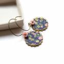 Kék mező - fülbevaló - kék, zöld, rózsaszín, Ékszer, óra, Fülbevaló, A fülbevaló a következő anyagokból készült:   * kék, zöld és rózsaszín színű virágos textil  * rózsa..., Meska