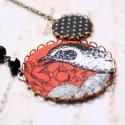 Téli madár  - nyaklánc - design ékszer, Ékszer, óra, Nyaklánc, A nyaklánc a következő anyagokból készült:   * rozsdabarna textil fekete-fehér madárral, fekete alap..., Meska