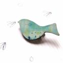 Kék mintás madár - kitűző - Woody kollekció, Ékszer, óra, Ékszerkészítés, A kitűző a következő anyagokból készült:   * kékes mintával nyomott fa madár  * kitűző   A minta Be..., Meska