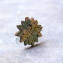 Kék Kövirózsa - gyűrű - Woody kollekció , Ékszer, óra, Gyűrű, A gyűrű a következő anyagokból készült:  * nyomtatott kövirózsa alakú fa kékes árnyalatban, Belinda ..., Meska