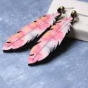 Pink Toll - nagy bedugós fülbevaló , Ékszer, óra, Fülbevaló, A fülbevaló a következő anyagokból készült:   * nagy toll formájú bedugós fülbevaló rózsaszín és szü..., Meska