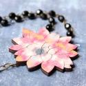 Kövirózsa - design ékszer - pink nyaklánc - Woody kollekció, Ékszer, óra, Nyaklánc, Új kedvenceim, a pozsgás növények!  A nyaklánc a következő anyagokból készült:  * kövirózsa formájú ..., Meska