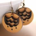 Csillár - design ékszer - kétrétegű  fülbevaló, Ékszer, óra, Fülbevaló, A fülbevaló a következő anyagokból készült:  * kerek fa fülbevaló arany és fekete színekben csillár ..., Meska