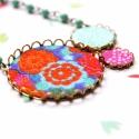 India - nyaklánc - design ékszer - türkiz, narancs, pink, Ékszer, óra, Nyaklánc, A nyaklánc a következő anyagokból készült:   * türkizkék, narancs és pink színű textilek  * türkizké..., Meska