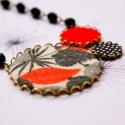 Éjszakai dzsungel - nyaklánc - design ékszer - piros, fekete, fehér, Ékszer, óra, Nyaklánc, A nyaklánc a következő anyagokból készült:   * fekete-fehér-piros színű textilek * fekete üveggyöngy..., Meska