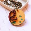 Arany ősz - design ékszer - kerek kétrétegű nyaklánc - Woody minikollekció, Ékszer, óra, Nyaklánc, Elegáns nyaklánc az ősz jegyében.   A nyaklánc a következő anyagokból készült:  * kerek fa medál ara..., Meska