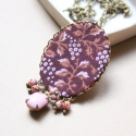 Őszi táj nyaklánc - design ékszer, Ékszer, óra, Nyaklánc, A nyaklánc a következő anyagokból készült:   * bordó-rózsaszín-narancsos színű mintás textil * rózsa..., Meska